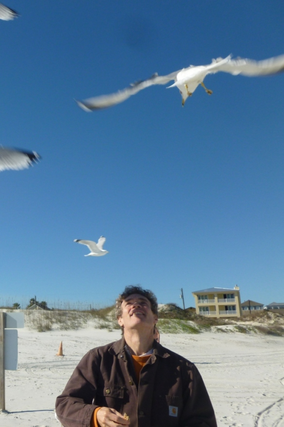 paul feeding birds
